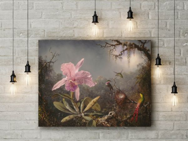 Heade: Three Hummingbirds. Fine Art Canvas.